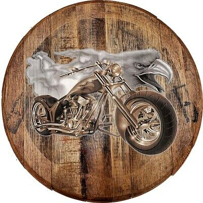 Whiskey Barrel Head American Bald Eagle Lightning Chopper Bike Riding Bar Sign