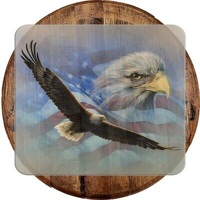 Whiskey Barrel Head Soaring American Bald Eagle Patriotic Flag Military Bar Sign
