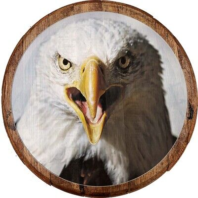 Whiskey Barrel Head Screaming American Bald Eagle Patriotic Closeup USA Bar Sign