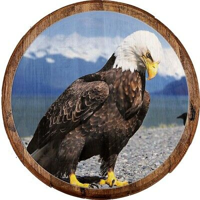 Whiskey Barrel Head American Bald Eagle Mountain River Valley Man Cave Bar Sign