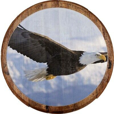 Whiskey Barrel Head Soaring American Bald Eagle Land of the Free Décor Bar Sign