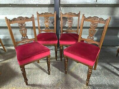 Set of 4x antique Edwardian dining chairs carved mahogany red velvet upholstered