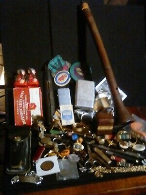 Vintage Junk Drawer Estate Lot Coins Pens Knives Jewelry Military Denture& More