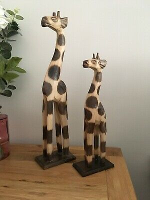 Beautiful Pair Of Wood Hand Carved Giraffes,