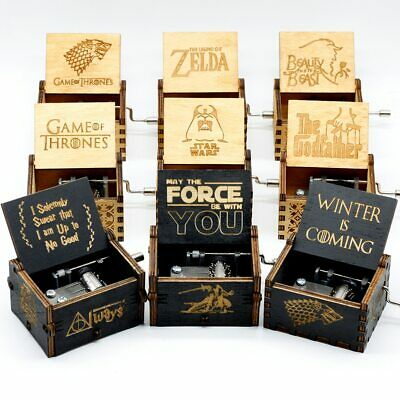 Antique Carved Wooden hand crank music box Star Wars game of thrones Theme Caixa