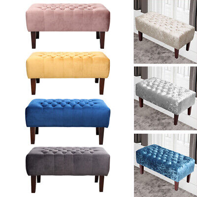 Large Fabric Velvet Ottoman Bench Bed End Footstool Window Seat Long Chair Stool