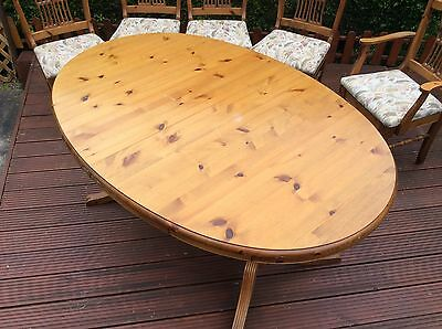 Ducall Antique Pine Finish Table With Four Chairs Plus Two Carvers