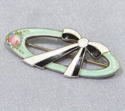 Antique Victorian Sterling Silver Guilloche Enamel Mourning C-Clasp Pin Brooch