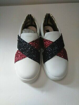 Tommy Hilfiger Girls Sneakers~Size: 3~ Red,White,Blue~ Chunky Glitter~Patriotic
