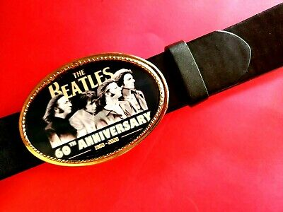 "THE BEATLES***60th ANNIVERSARY Photo BUCKLE & 1 1/2"" Black Bonded Belt NEW!"