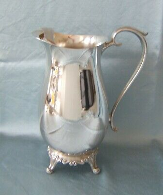 Vintage FB ROGERS SILVER CO Footed Ornate Water PITCHER Tea Wine w Ice Guard