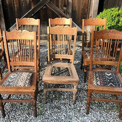 Victorian Set of 8 Antique Oak Dining Chairs 3 in need of restoration