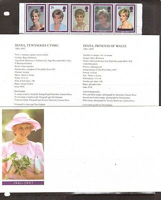 Great Britain 1997 Princess Diana Cover insert and stamps VF MNH