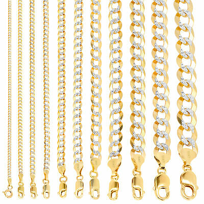 """10K Yellow Gold Solid 2-12mm Diamond Cut Pave Cuban Curb Chain Necklace 16""""- 30"""""""
