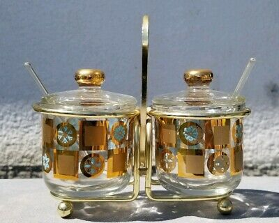 Jeannette Glass Condiment Jars in Caddy Gold Turquoise Design by Culver. Vintage