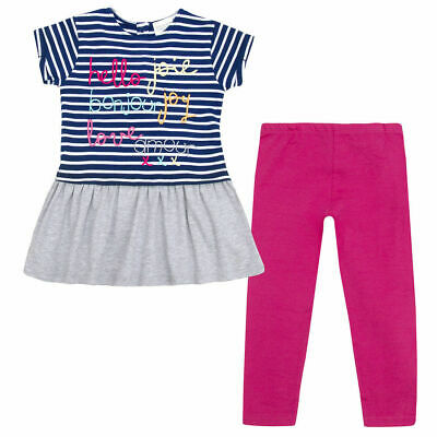 Girls Tunic Top Striped T Shirt Frilled Dress Leggings Bottoms Outfit 2-8 Years