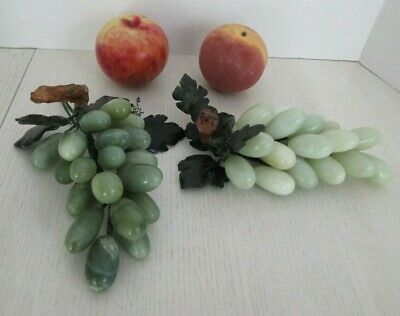 Vintage Marble Alabaster Grape Clusters + Apple & Peach 1950s/60s Italian Fruits