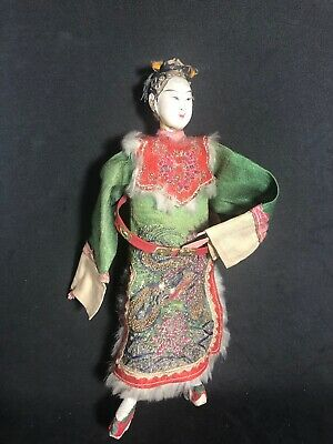 Antique Vintage Carved Wood Wooden Oriental Chinese Opera Doll Beaded Clothe(cb)
