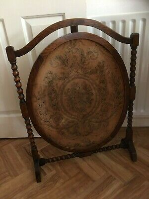 Antique English oak barley twist frame oval old tapestry fire fireplace screen
