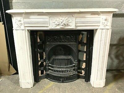 Superb antique Victorian style cast iron fireplace & marble effect mantle piece