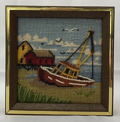 +Vintage Fishing Boat Ocean Sea Completed Embroidery Needlepoint Framed Sea Gull