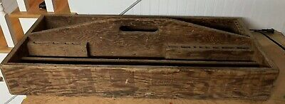 Large Primitive Antique Carpenters Wooden Carrier Tool Box Great Patina