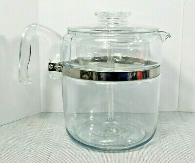 Pyrex Glass Flameware Percolator Coffee Pot Glass Handle 7759 9 cup