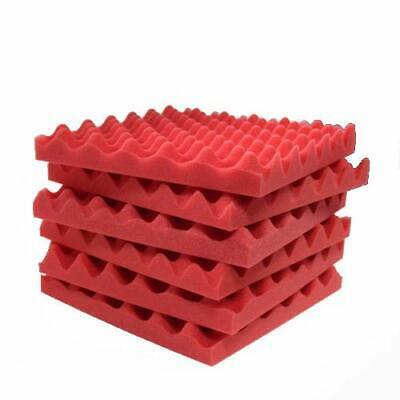 "6 Pack Red Acoustic Foam 2""x12""x12"" Soundproofing Foam Wall Tile Acoustic Panel"