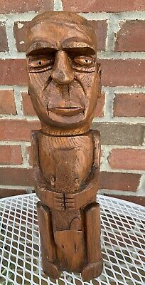 Vintage Folk Art Hand Carved Wood Sculpture Statue Man With Fish Signed Dated