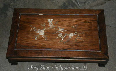 """24"""" Chinese antique Huanghuali Wood inlay Shell Carved Ancient Table Desk Statue"""