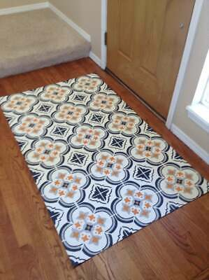 "Floorcloth 4x6 ""FESTOSO"" Beautiful Hand Painted Vintage Tile Area Rug"