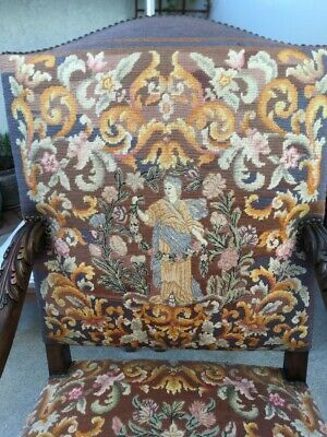 Antique Needlepoint Throne Chair from old Hollywood Estate NR