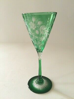 Dorflinger Emerald Green Cut to Clear Cordial Faceted Honeycomb & 46 point star