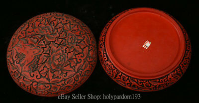 """7"""" Chinese Palace Old antique Red lacquerware Carved Peony Flower Jewelry box"""