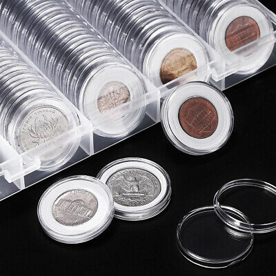 100pcs Coin Storage Box Case Capsules Holder Clear Plastic Round 20 25 27 30MM