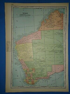 Vintage Circa 1904 WEST AUSTRALIA MAP Old Antique Original Folio Size