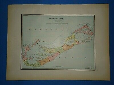 Vintage Circa 1904 BERMUDA ISLANDS MAP Old  Antique Original Folio Size