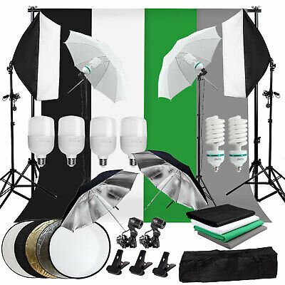 Photography Studio Video Lighting Softbox Umbrella Backdrop Background Stand Kit