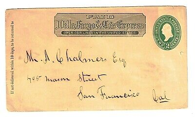 US Sc#U311 Full cover with Wells, Fargo and Co 2 Cents Mailed 1889