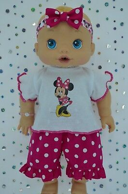 """Play n Wear Doll Clothes To Fit 13"""" Baby Alive POLKA DOT PANTS~TOP~HEADBAND"""