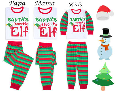 2019 Elf Family Matching Women Kids Christmas Pyjamas Xmas Nightwear Pajamas Set