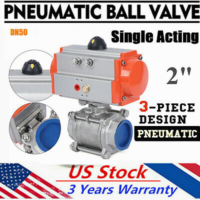 """Pneumatic Single Acting Air Return Air Actuated Stainless Ball Valve 2"""" 3-piece"""