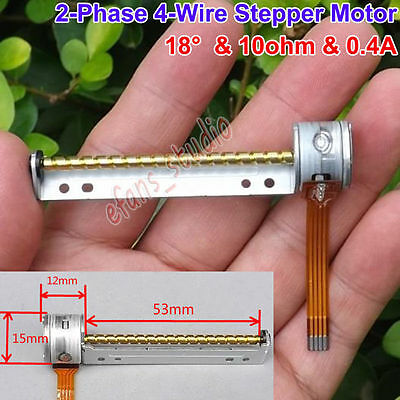 2-Phase 4-Wire Micro Mini 15mm Stepper Motor 53mm Long Linear Screw Shaft Rod
