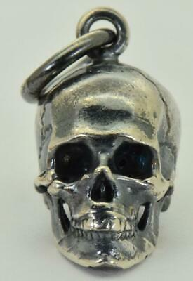 Antique 19th Century Victorian Sterling Silver Skull (bracelet)charm pendant fob