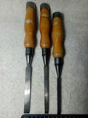 Vintage Tool Chisels x3 Footprint Quality Made 8/10&12mm Collectible /Use
