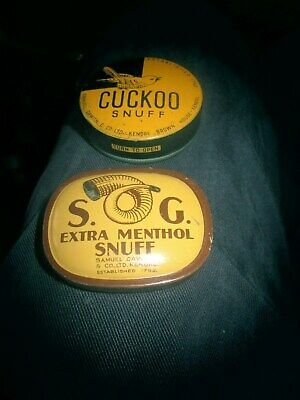 Vintage c1900 Collectable pair of SNUFF Tins Cuckoo & S.O.G.