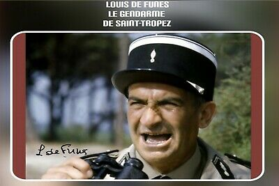 Photo  Signee  Louis De Funes Gendarme St Tropez Rectangle Arrondi  10 X 15 Cm