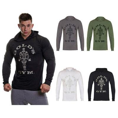 Golds Gym Mens Long Sleeve Hooded Hoody Printed Hoodie Sweat Top T-Shirt S-2XL