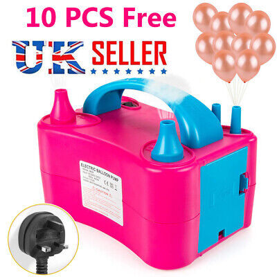 New 600W Electric Balloon Pump Set Inflator Air Blower Two Nozzle Party Portable