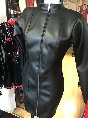 Misfitz Blk leather look mistress dress 2 way zip.Size 28 TV Goth CD Fetish Club